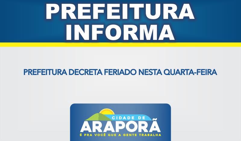 Imagem destaque notícia PREFEITURA DECRETA FERIADO NESTA QUARTA-FEIRA