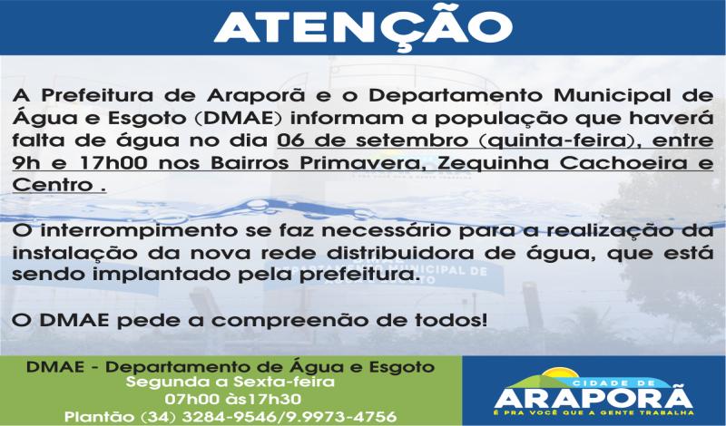 Imagem destaque notícia FORNECIMENTO DE ÁGUA SERÁ INTERROMPIDO NESTA QUINTA-FEIRA (06)