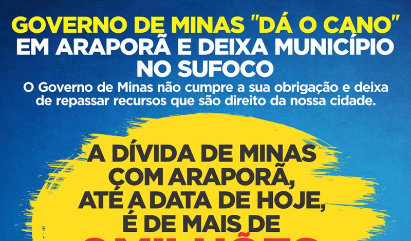 Imagem destaque notícia DÍVIDAS DO ESTADO COM A PREFEITURA DE ARAPORÃ JÁ ULTRAPASSAM SEIS MILHÕES DE REAIS