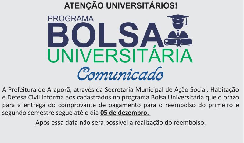 Imagem destaque notícia ENTREGA DE COMPROVANTE DE PAGAMENTO PARA BOLSA UNIVERSITÁRIA TERMINA NO DIA 05 DE DEZEMBRO