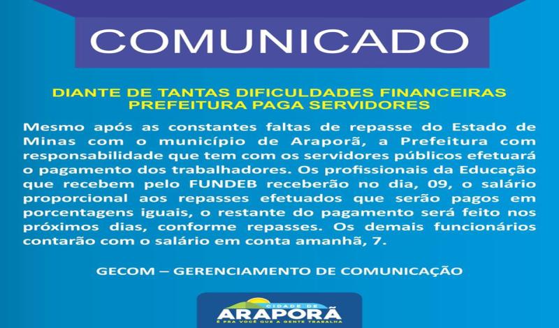 Imagem destaque notícia DIANTE DE TANTAS DIFICULDADES FINANCEIRAS PREFEITURA PAGA SERVIDORES