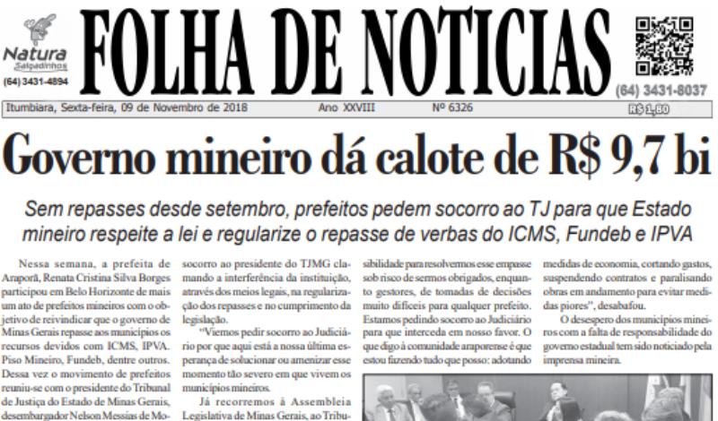 Imagem destaque notícia Governo Mineiro dá calote em municípios de R$ 9,7 bi