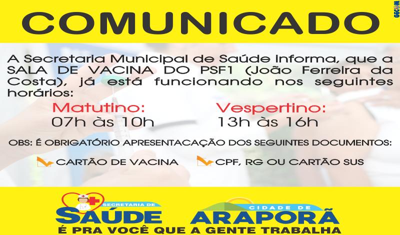 Imagem destaque notícia SALA DE VACINA DO PSF1 JÁ ESTÁ EM FUNCIONAMENTO