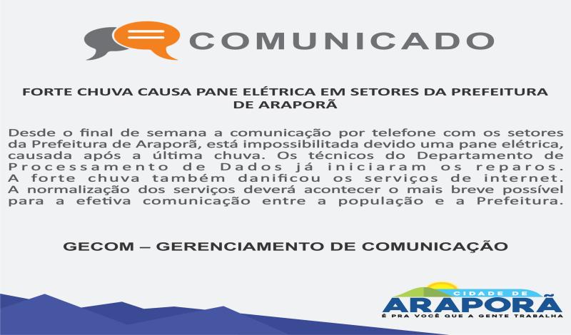Imagem destaque notícia FORTE CHUVA CAUSA PANE ELÉTRICA EM SETORES DA PREFEITURA DE ARAPORÃ