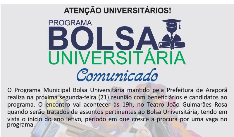 Imagem destaque notícia PREFEITURA FARÁ REUNIÃO COM BENEFICIÁRIOS PARA ESCLARECER DÚVIDAS DO BOLSA UNIVERSITÁRIA