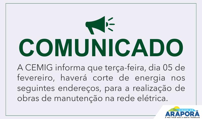 Imagem destaque notícia AVISO DE DESLIGAMENTO DE ENERGIA ELÉTRICA PARA MANUTENÇÃO