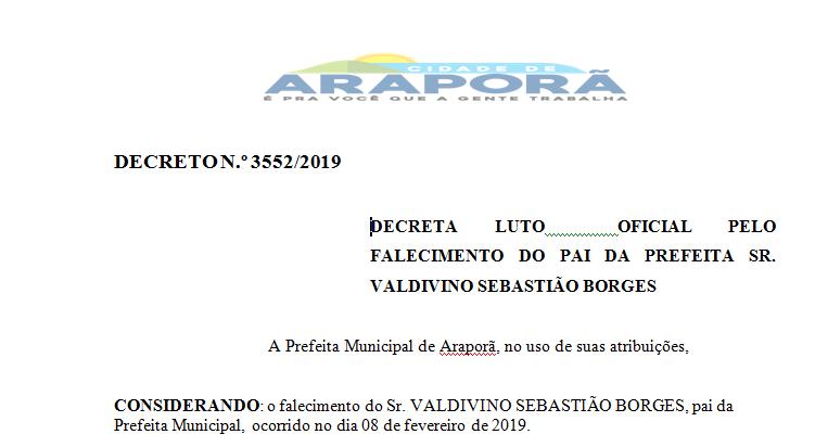 Imagem destaque notícia DECRETO LUTO OFICIAL PELO FALECIMENTO DO PAI DA PREFEITA SR. VALDIVINO SEBASTIÃO BORGES