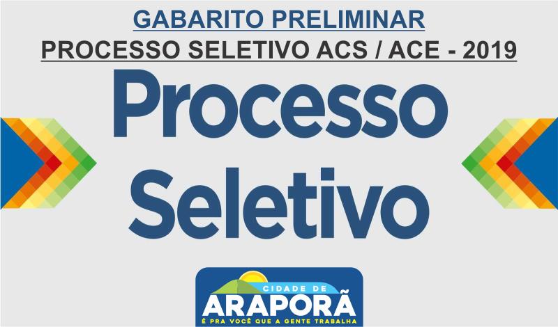 Imagem destaque notícia  GABARITO PRELIMINAR - PROCESSO SELETIVO ACS / ACE - 2019