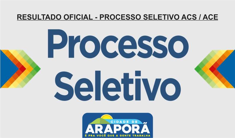 Imagem destaque notícia RESULTADO OFICIAL - PROCESSO SELETIVO ACS / ACE