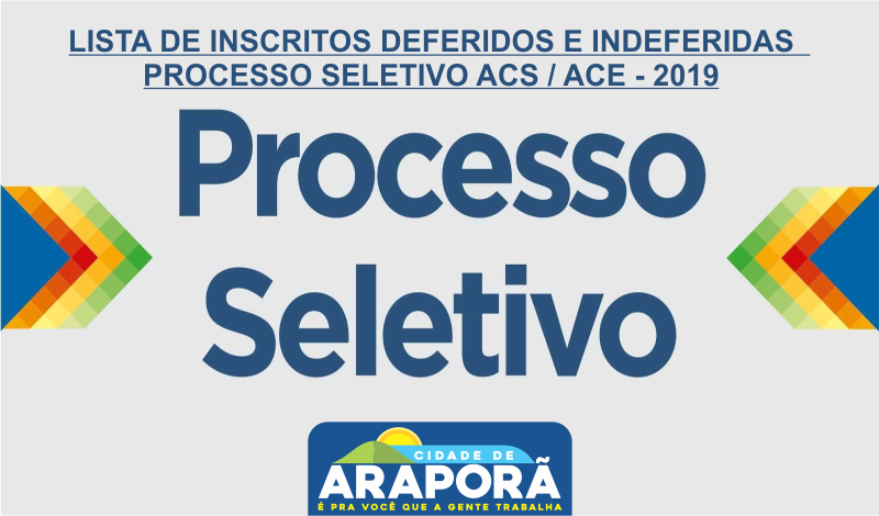 Imagem destaque notícia LISTA DE INSCRITOS DEFERIDOS E INDEFERIDAS 2 - PROCESSO SELETIVO ACS / ACE - 2019