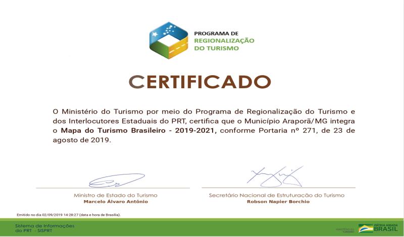Imagem destaque notícia ARAPORÃ RECEBE CERTIFICAÇÃO DO MINISTÉRIO DO TURISMO