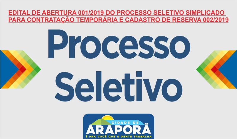Imagem destaque notícia EDITAL DE ABERTURA 001/2019 DO PROCESSO SELETIVO SIMPLICADO PARA CONTRATAÇÃO TEMPORÁRIA E CADASTRO DE RESERVA 002/2019