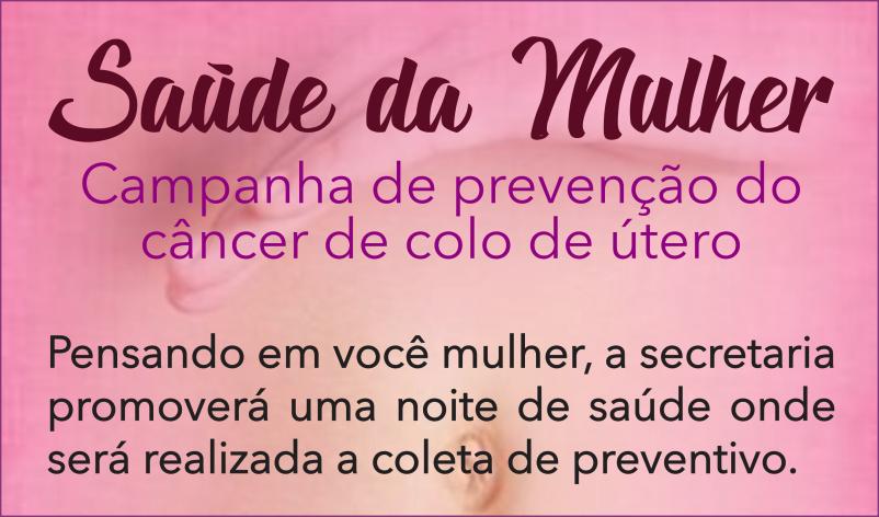Imagem destaque notícia SAÚDE PROMOVE AÇÃO PARA COLETA DE PREVENTIVO