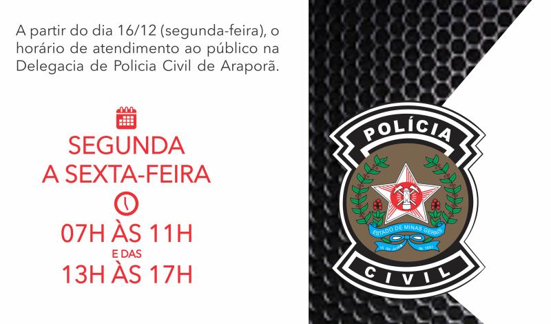 Imagem destaque notícia ATENÇÃO PARA O NOVO HORÁRIO DE ATENDIMENTO DA POLÍCIA CIVIL