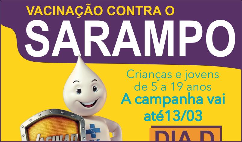 Imagem destaque notícia SÁBADO É DIA DE VACINAR CONTRA O SARAMPO