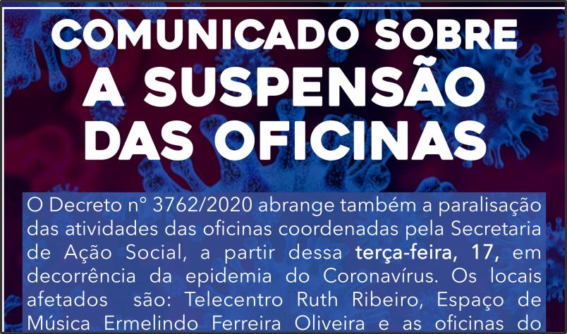Imagem destaque notícia OFICINAS DA SECRETARIA DE AÇÃO SOCIAL TAMBÉM SERÃO PARALISADAS