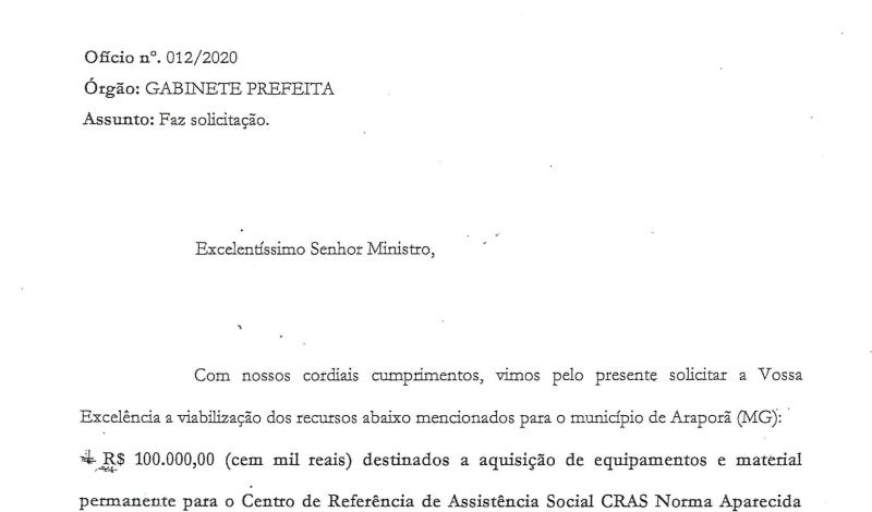 Imagem destaque notícia ARAPORÃ PROTOCOLA E RECEBE VERBAS PARA A SECRETARIA DE AÇÃO SOCIAL