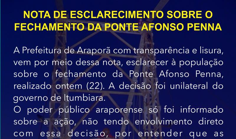 Imagem destaque notícia NOTA DE ESCLARECIMENTO SOBRE O FECHAMENTO DA PONTE AFONSO PENNA