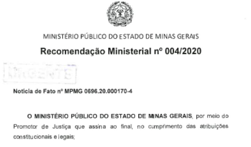 Imagem destaque notícia MINISTÉRIO PÚBLICO ENVIA NOVAS RECOMENDAÇÕES AO COMÉRCIO ARAPORENSE