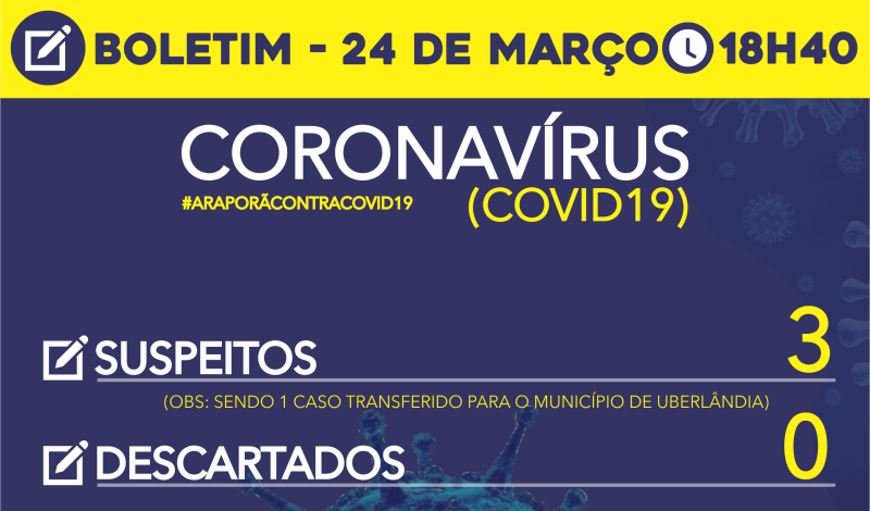 Imagem destaque notícia BOLETIM DIÁRIO DA SAÚDE – CORONAVÍRUS 24/03/2020