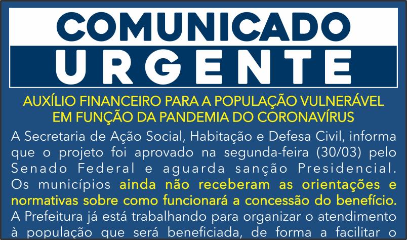 Imagem destaque notícia COMUNICADO RENDA BÁSICA DE CIDADANIA EMERGENCIAL