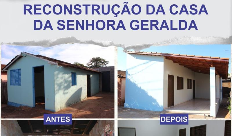 Imagem destaque notícia ANTES E DEPOIS DA RECONSTRUÇÃO DA CASA DA SENHORA GERALDA FERREIRA