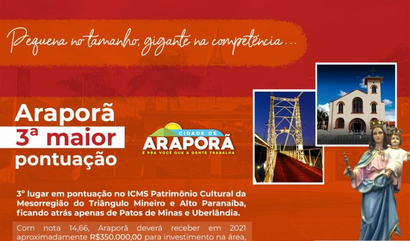 Imagem destaque notícia ARAPORÃ TERÁ RECURSO RECORDE DO ICMS DO PATRIMÔNIO CULTURAL