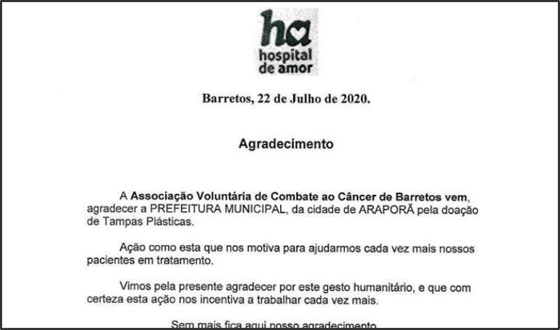 Imagem destaque notícia HOSPITAL DE AMOR AGRADECE ARAPORÃ POR CAMPANHA DE ARRECADAÇÃO