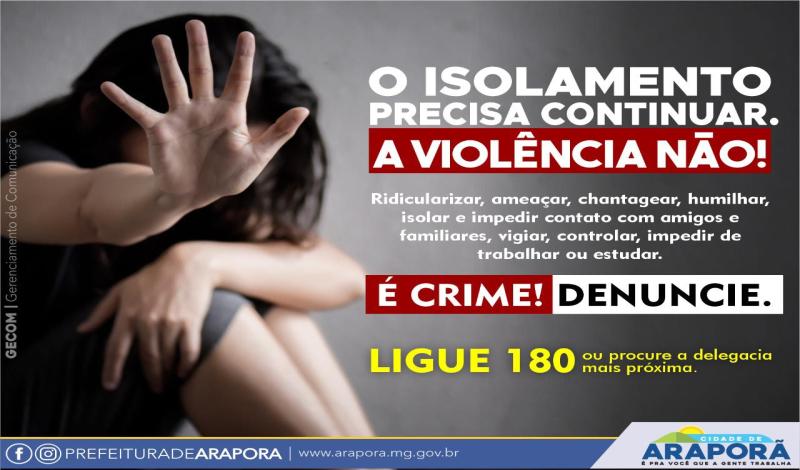 Imagem destaque notícia O ISOLAMENTO PRECISA CONTINUAR. A VIOLÊNCIA NÃO !
