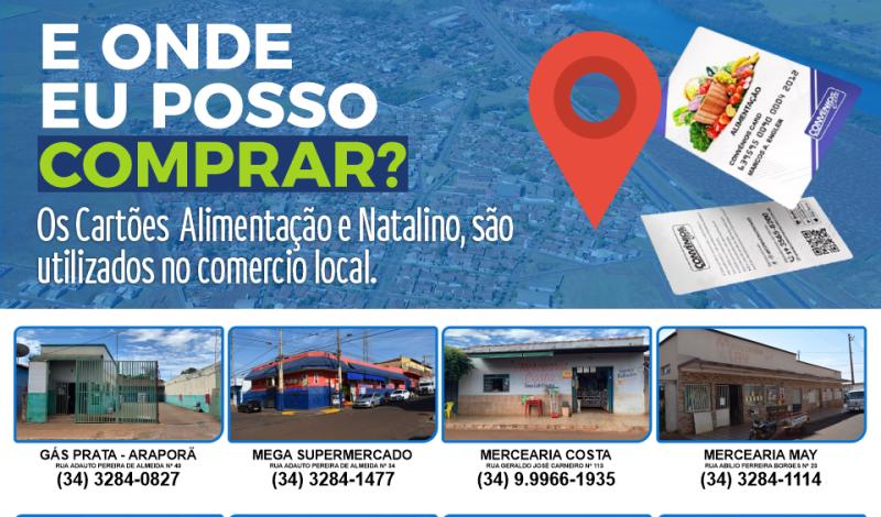 Imagem destaque notícia CARTÃO ALIMENTAÇÃO E NATALINO: CONFIRA OS ESTABELECIMENTOS CREDENCIADOS