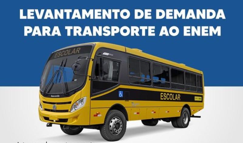 Imagem destaque notícia SECRETARIA DE EDUCAÇÃO FAZ LEVANTAMENTO PARA TRANSPORTE À LOCAIS DE PROVA DO ENEM