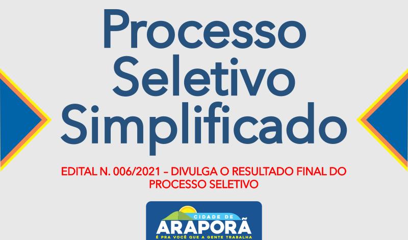 Imagem destaque notícia EDITAL N. 006/2021 – DIVULGA O RESULTADO FINAL DO PROCESSO SELETIVO