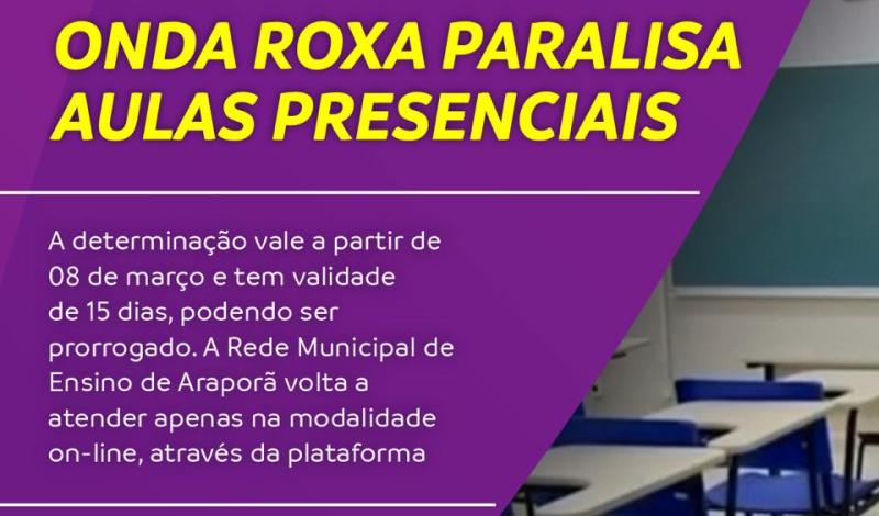 Imagem destaque notícia ONDA ROXA PARALISA AULAS PRESENCIAIS