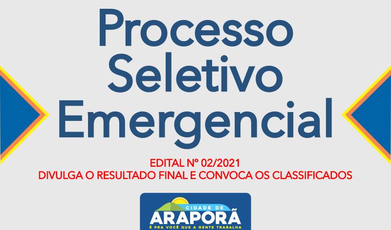 Imagem destaque notícia EDITAL Nº 02/2021 – DIVULGA O RESULTADO FINAL E CONVOCA OS CLASSIFICADOS
