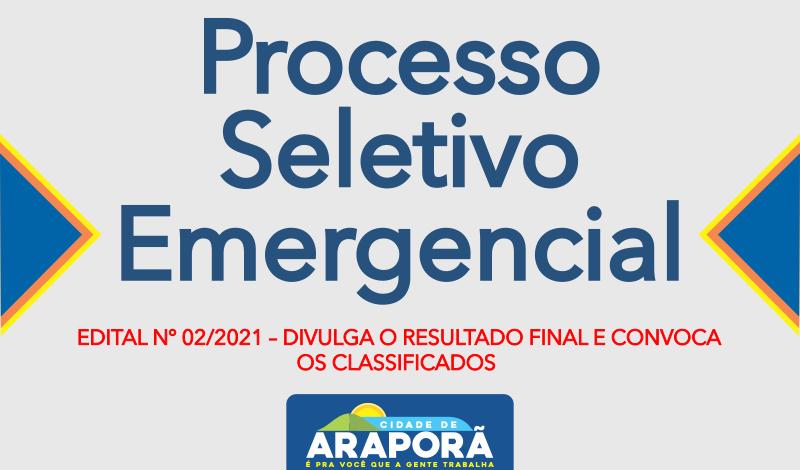 Imagem destaque notícia EDITAL Nº 02/2021 – DIVULGA O RESULTADO FINAL E CONVOCA OS CLASSIFICADOS - 05/04/2021
