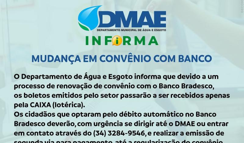 Imagem destaque notícia DMAE INFORMA SOBRE MUDANÇA EM CONVÊNIO COM BANCO