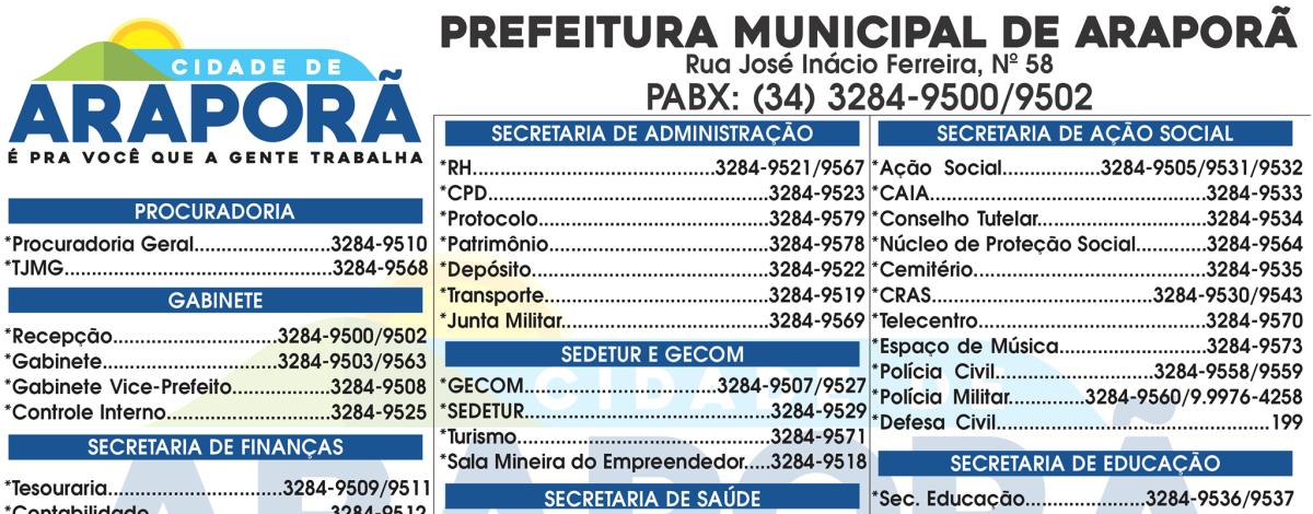Imagem destaque notícia CONFIRA OS NÚMEROS DOS RAMAIS DE TELEFONE DA PREFEITURA DE ARAPORÃ
