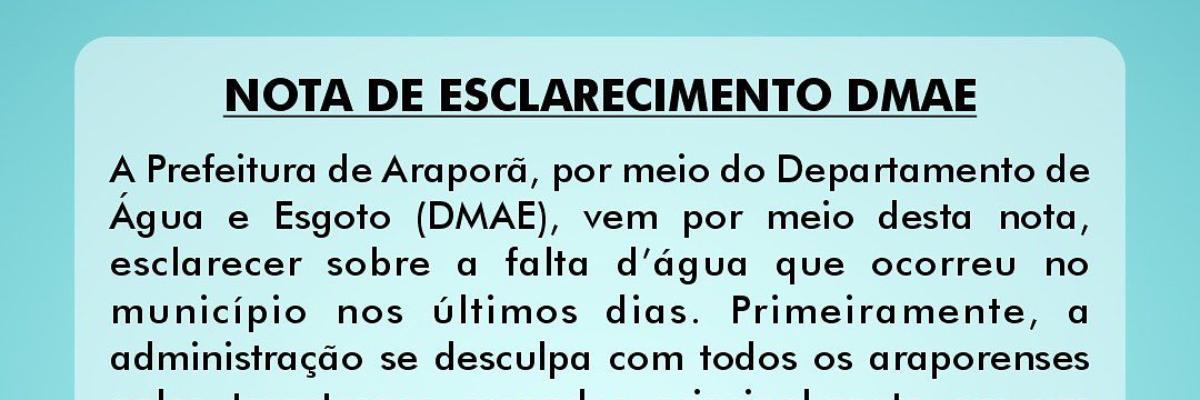Imagem destaque notícia NOTA DE ESCLARECIMENTO DMAE - 20/09/2021