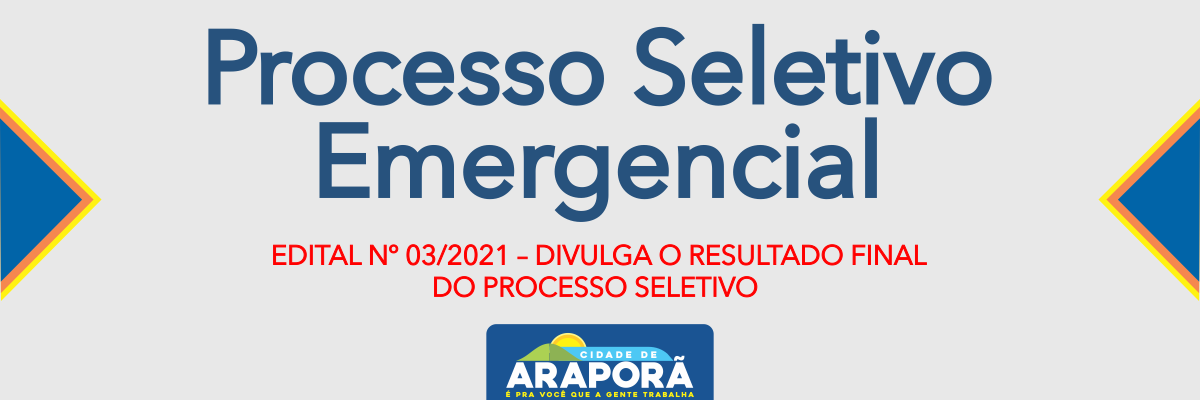 Imagem destaque notícia EDITAL Nº 03/2021 – DIVULGA O RESULTADO FINAL DO PROCESSO SELETIVO - 24/09/2021