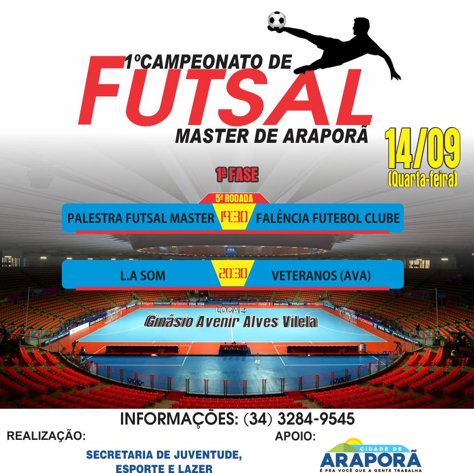Imagem destaque notícia Hoje tem a 5ª rodada do Campeonato Master de Futsal