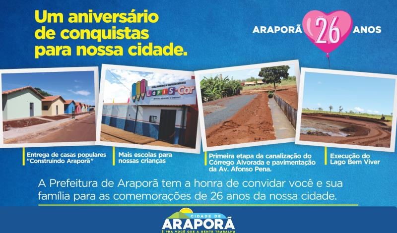 Imagem destaque notícia Um aniversário de conquistas para Araporã.