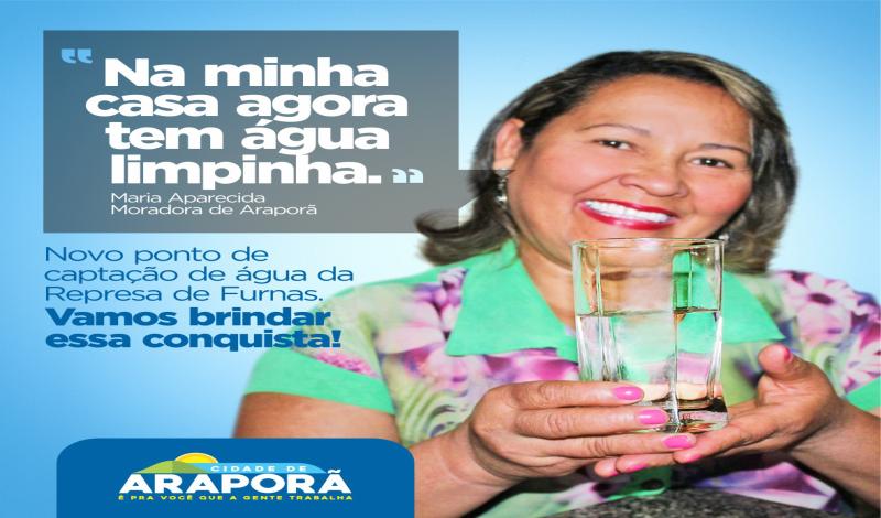 Imagem destaque notícia Prefeitura investe para que Araporã tenha  água limpa e de qualidade. População reconhece e agradece