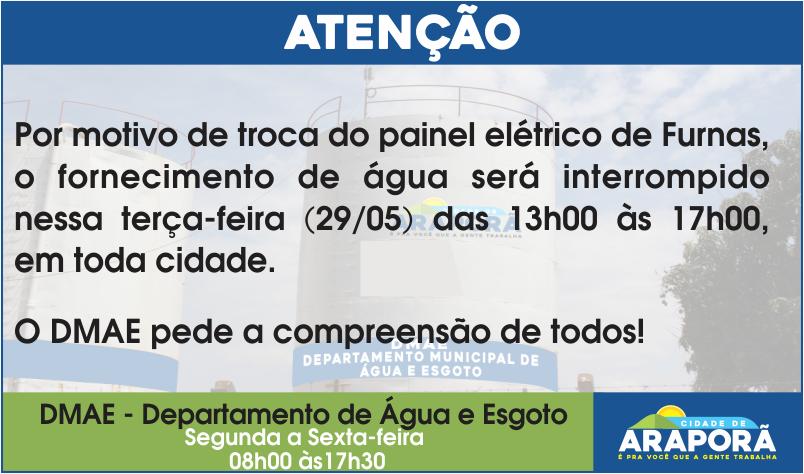 Imagem destaque notícia Troca de painel elétrico interromperá fornecimento de água nesta terça-feira