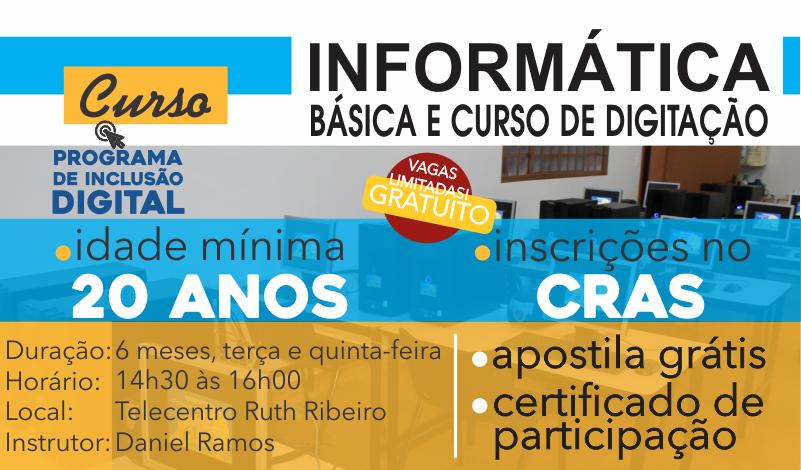 Imagem destaque notícia INSCRIÇÕES ABERTAS PARA O CURSO DE DIGITAÇÃO E INFORMÁTICA BÁSICA